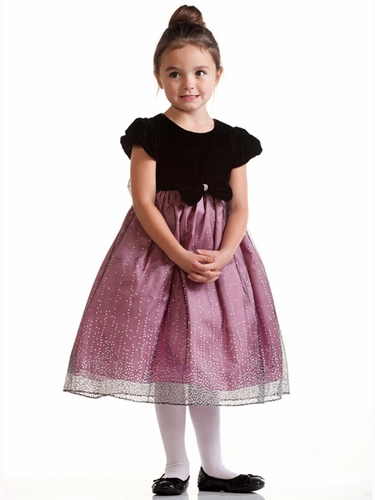 Dusty Rose Cap Sleeve Velvet Bodice w/ Shimmering Dotted Skirt