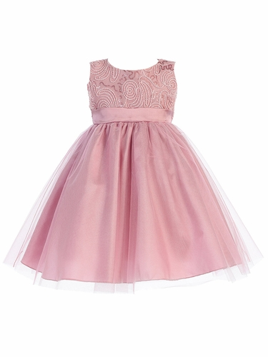 Dusty Rose Corded Tulle Bodice w/ Shiny Tulle Skirt