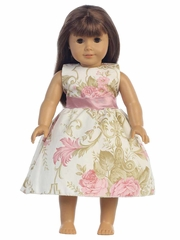 "Dusty Rose Cotton Floral Dress w/ Sash 18"" Doll Dress"