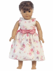 "Cotton Floral Print w/ Dusty Rose Sash & Bow 18"" Doll Dress"