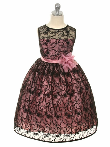 Rose Dress w/ Black Overlay Lace