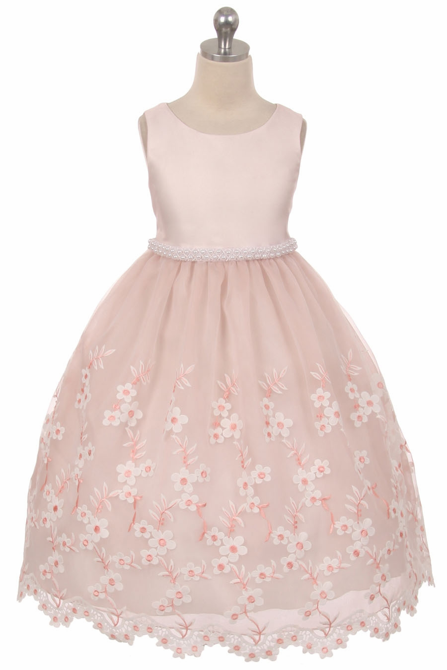 Dusty Rose Embroidered Floral Dress W Pearl Waistband