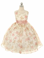 Dusty Rose Vintage Organza Dress