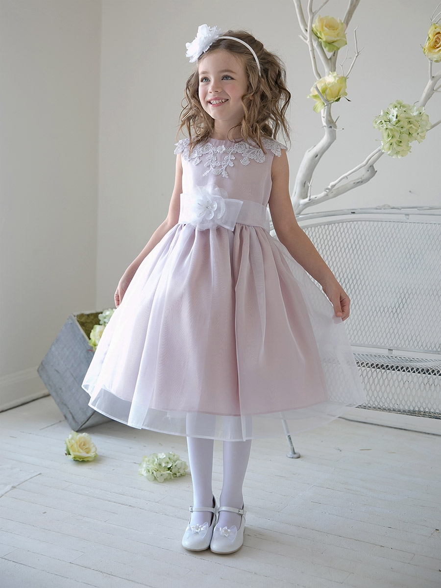 Dusty Rose Girls Organza Dress W Lace Bodice