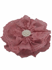 Dusty Rose Lace Flower Clip