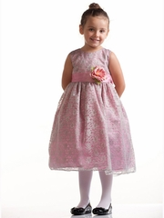 Dusty Rose/Silver Lace Pattern Dress w/Polysilk Sash & Flower