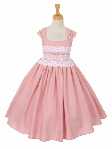 CLEARANCE - Dusty Rose Linen and Lace Dress