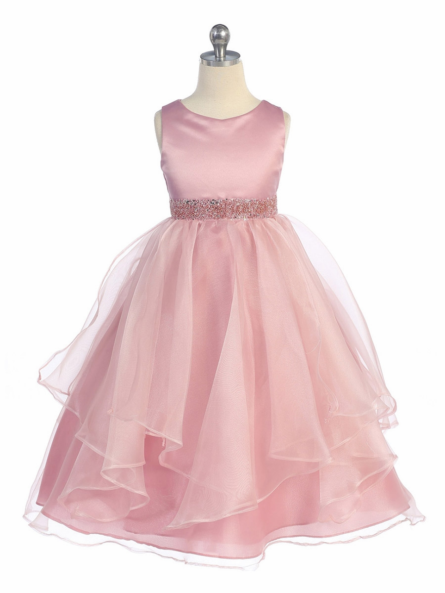 Rose Satin & Organza Layered Dress