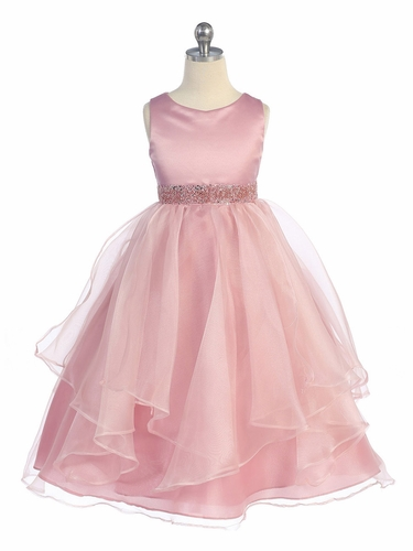 Dusty Rose Satin & Organza Layered Dress