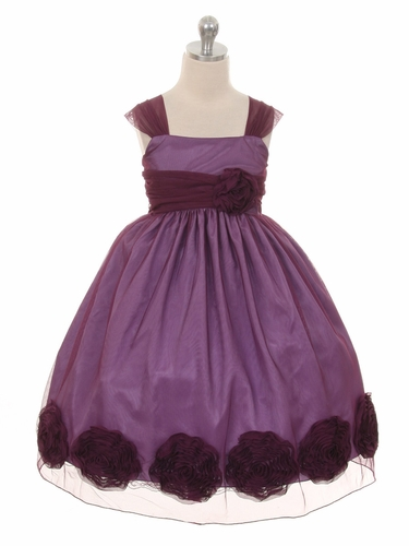 Eggplant Big Flower Mesh Dress