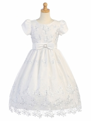 Embroidered Daisy Organza & Sequins Dress