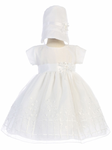 Embroidered Organza Christening Dress w/ Bonnet