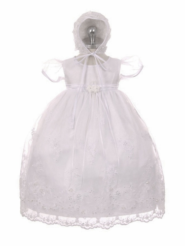 Embroidered Organza Christening Gown w/ Sequins & Pearls