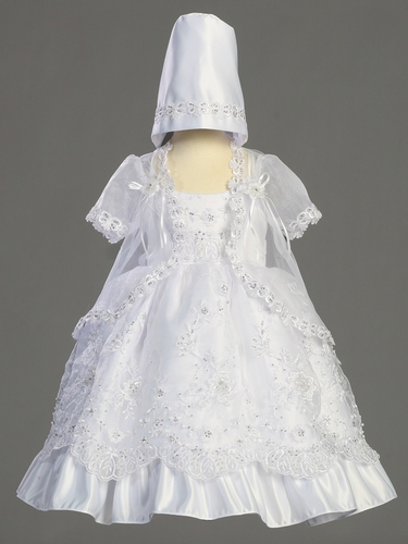 Embroidered Organza Dress w/Silver Sequins & Cape
