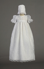 Embroidered Organza Girls Christening Gown