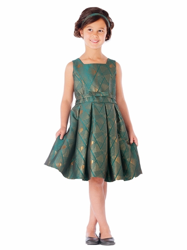 Emerald Green Geometric Jacquard Dress