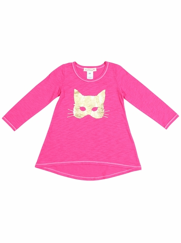 Everbloom Hot Pink w/ Gold Cat Mask Tunic