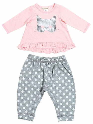 Everbloom Pink and Grey Cat Mask 2 PC Set