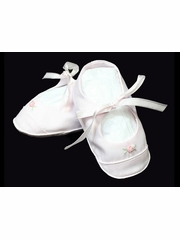 CLEARANCE - Feltman Brothers Pink Satin Bootie w/ Rosebud