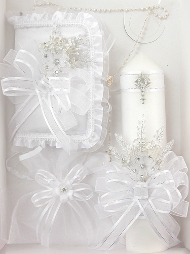 First Communion Floral Candle Gift Set - English