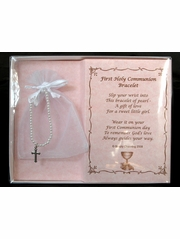 First Communion Pearl Bracelet w/ Silver Cross