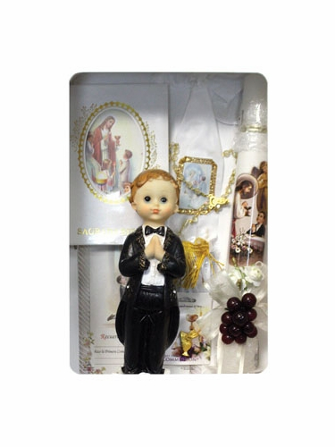 Fist Holy Communion Boy's English Candle Set