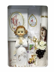 Fist Holy Communion Girl's English Candle Set