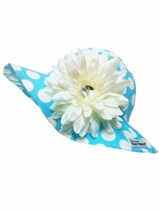 Flap Happy Aqua Floppy Hat w/ Removable Flower