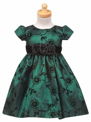 Flocked Green Taffeta Dress with Velvet Waistband