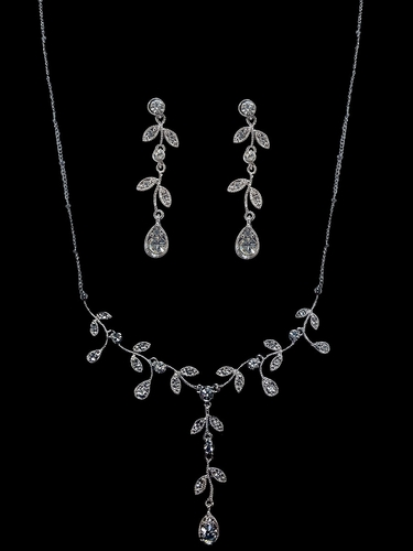 Floral Vine Rhinestone Necklace & Earring Set