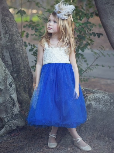 Flower Crochet Bodice W/ Royal Blue Tulle Glitter Skirt