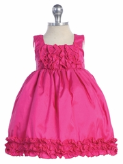 Fuchsia Baby Girls Taffeta Ruffles Two Tone Dress