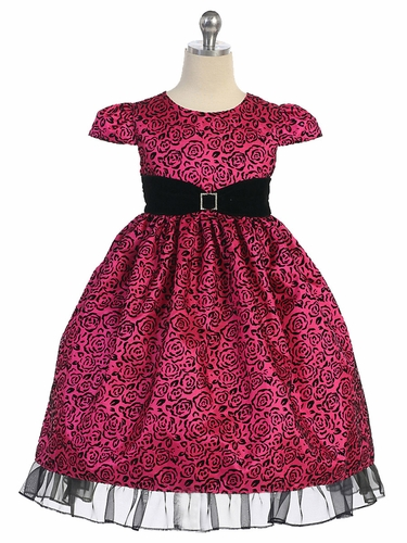 Fuchsia & Black Roses w/ Velvet Sash Holiday Dress
