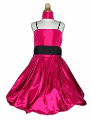 Fuchsia Bubble Dress w/ Bead Shoulder Straps