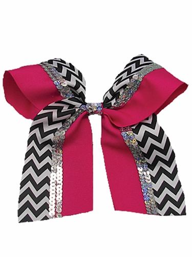 Fuchsia Chevron Cheer Bow