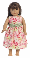 "Fuchsia Cotton Floral Dress for 18"" Doll"