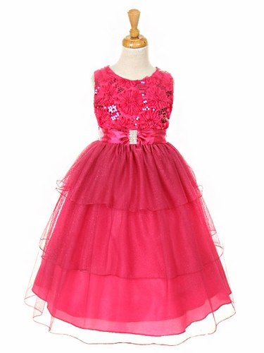 Fuchsia Embroidered Mesh Flower & Sequins Bodice Dress w/ Layered Sparkle Mesh Skirt