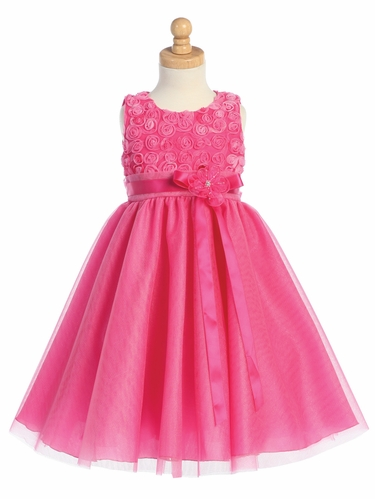 Fuchsia Embroidered Tulle Bodice w/Tulle Skirt