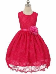 CLEARANCE - Fuchsia Floral Beaded Lace Dress