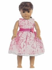 "Fuchsia Floral Embossed Lace 18"" Doll Dress"