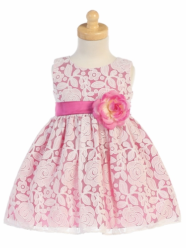 Fuchsia Floral Embossed Lace Dress