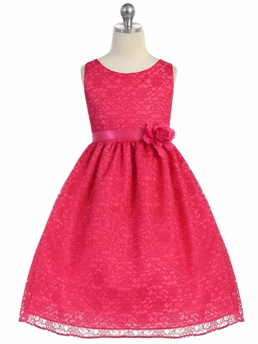 Fuchsia Floral Lace Dress