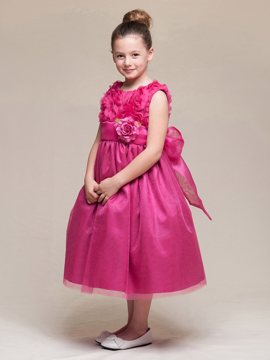 9ad3a21d9 ... Fuchsia Floral Ribbon Bodice & Tulle Skirt Dress w/Flower & Sash. Click  to Enlarge ...