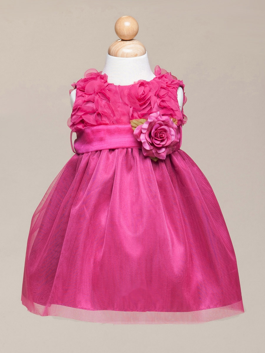 34a529069 ... Fuchsia Floral Ribbon Bodice & Tulle Skirt Dress w/Flower & Sash. Click  to Enlarge Click to Enlarge