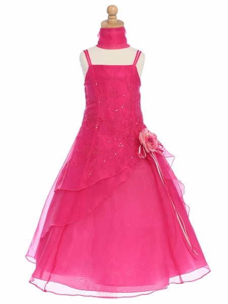 Flower Girl Dress - Organza A-Line Dress Shawl
