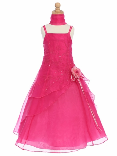 Fuchsia Flower Girl Dress - Organza A-Line Dress Shawl