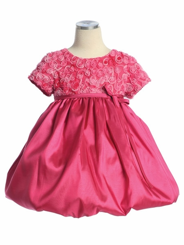 Fuchsia Flower Girl Dress - Rose Embroidered Tulle Taffeta Dress