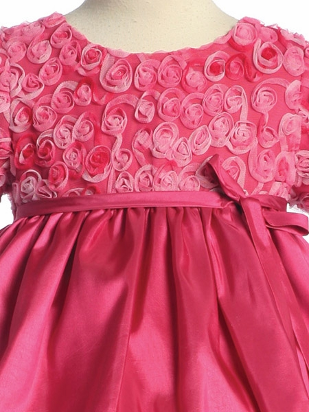85a163f36f0 ... Flower Girl Dress - Rose Embroidered Tulle Taffeta Dress. Click to Enlarge  Click to Enlarge