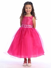 Fuchsia Flower Girl Dress - Sleeveless Bodice w/ Adorned Waistline