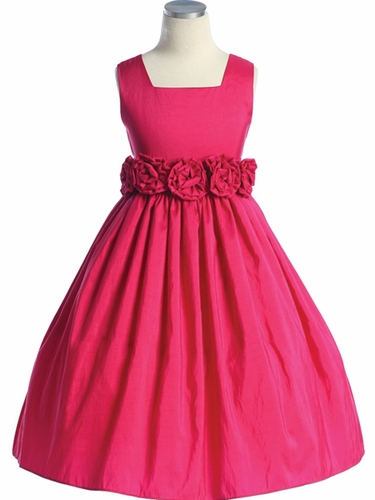 Fuchsia Flower Girl Dress - Taffeta Dress w/ Flower Cummerbund